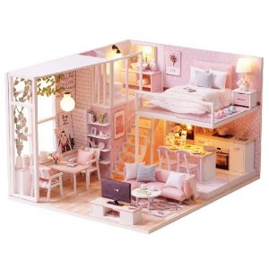 DIY Dollhouse Cottage Miniature Furniture Toy Set Collection Gift
