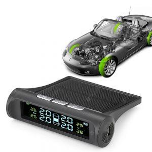 Gocomma Car Tire Tyre Wheel Pressure Gauge Wireless Solar External Tester