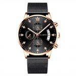 Diamond Six-Needle Timing Calendar Men'S Mesh with Waterproof Quartz Watch