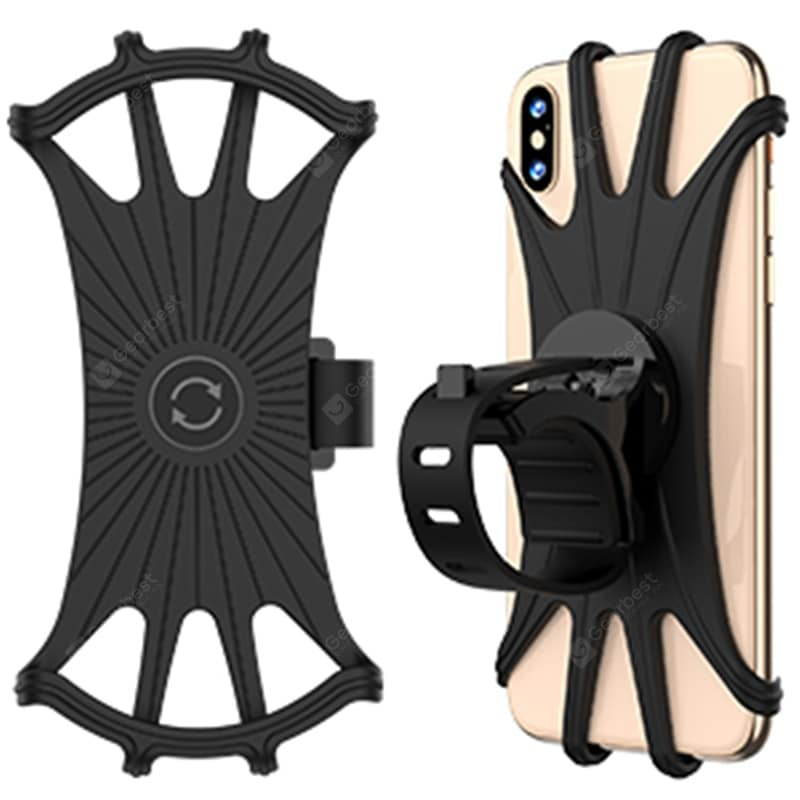 "MP - 8159 360 Degrees Rotatable Adjustable Silicone Bicycle Phone Mount Compatible with iPhone Xs MAX / X 4.5 ""-6.5 inch Phones"