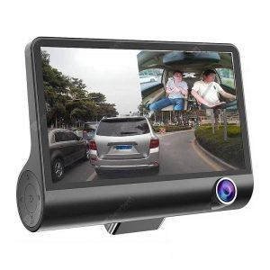 Tecney 3 Cameras Lens 4.0 Inch Dual Lens With Rearview Camera Video Recorder Car DVR Dash Cam