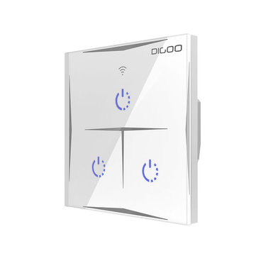 DIGOO DG-S601 EU 1800W AC100V-240V Smart WIFI Wall Touch Switch 3 Gang Glass Panel Remote Controller Work with Amazon Alexa Google Assistant