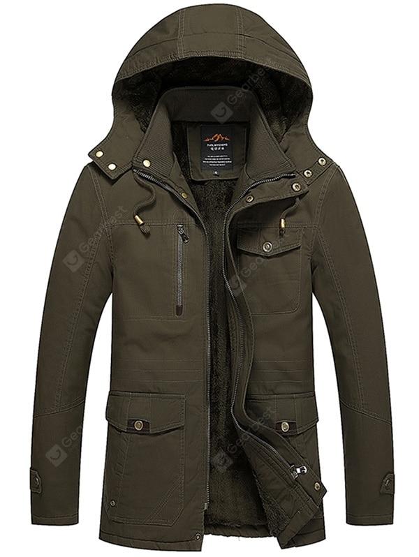 Men's Plus Velvet Wide-waisted Hooded Jacket Winter Washed Cotton Coat