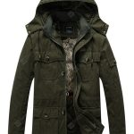 Men's Washed Cotton Plus Thick Velvet Hooded Jaket Coat