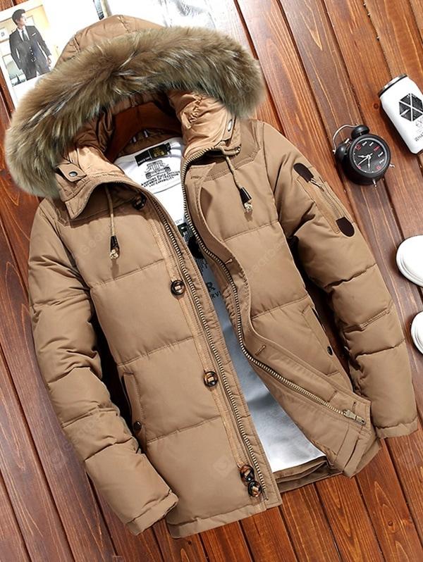 Men's Winter Solid Color Down Coat Furry Hat Hooded Outdoor Top